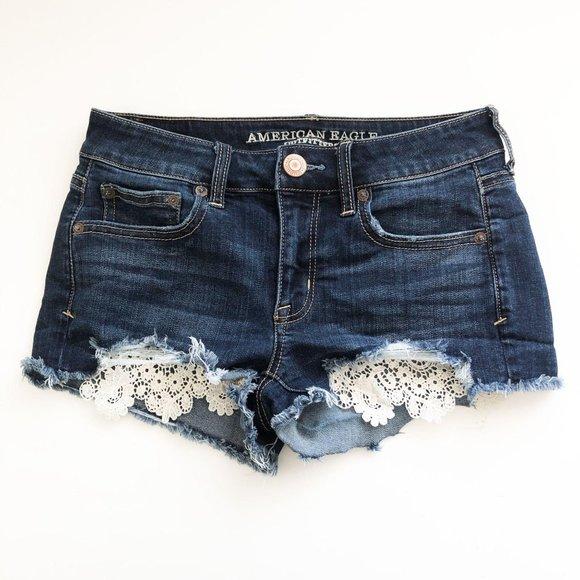 American Eagle Lace Pocket Shortie Jean Shorts 2